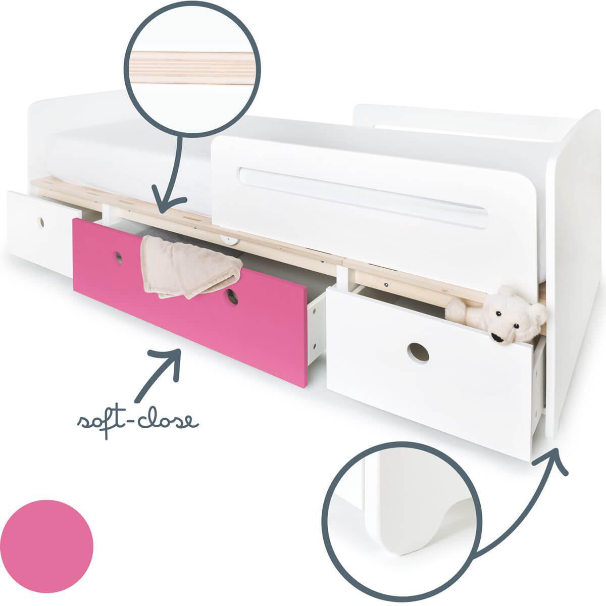 Cama evolutiva 90x200cm COLORFLEX white-pink-white
