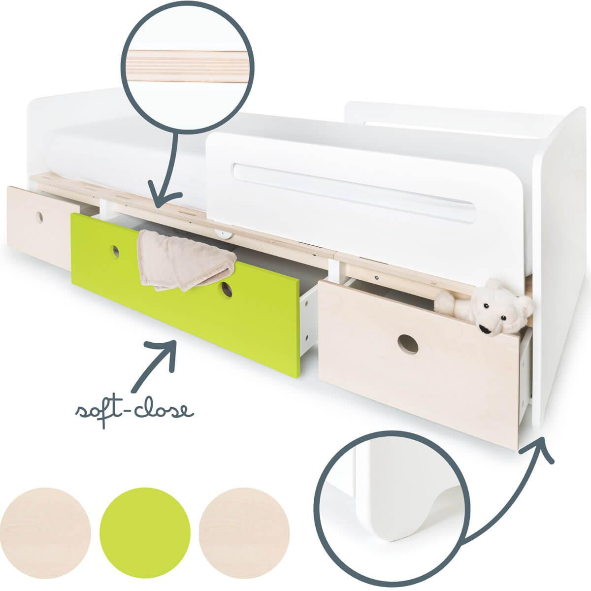 Cama evolutiva 90x200cm COLORFLEX white wash-lime-white wash