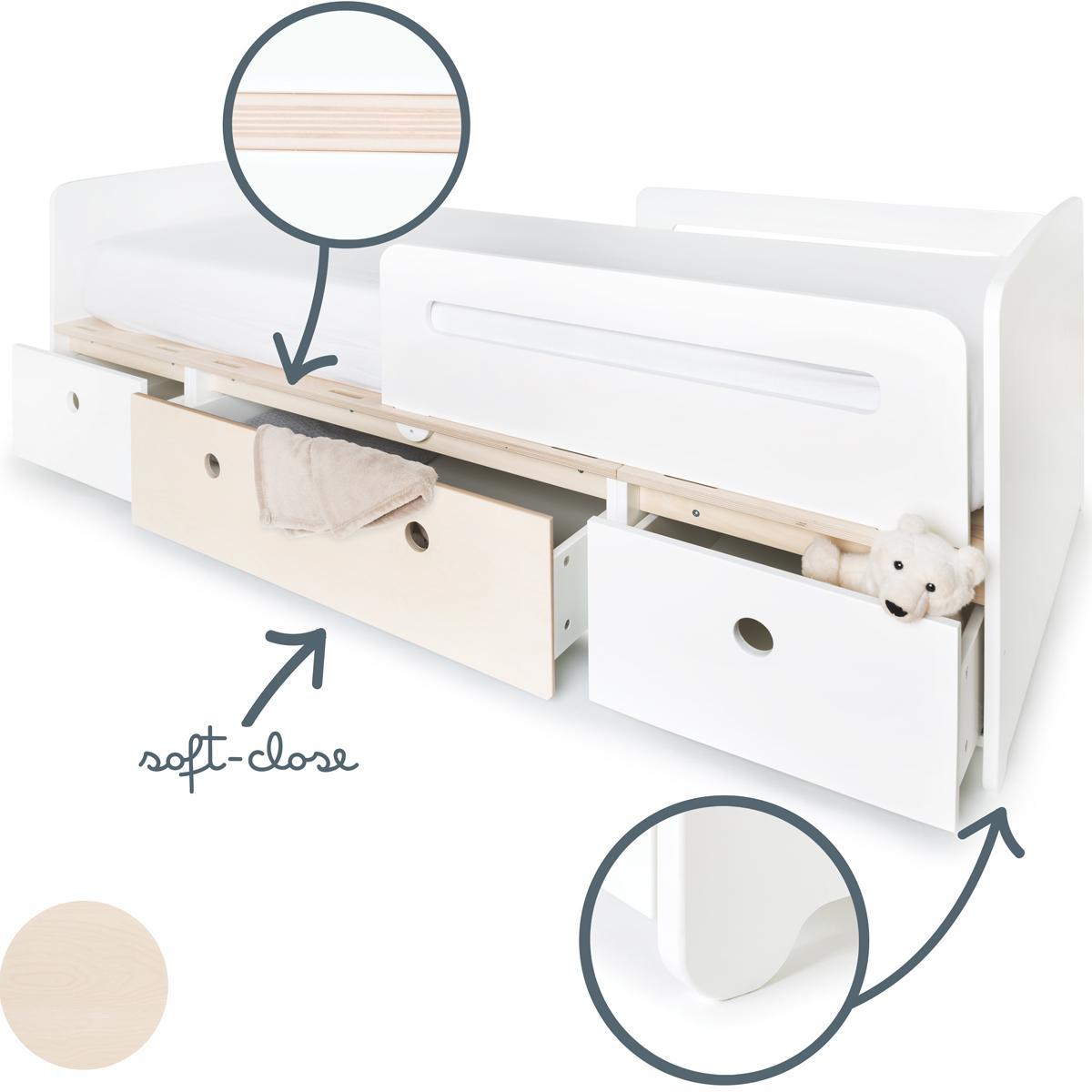 Cama evolutiva 90x200cm COLORFLEX white-white wash-white
