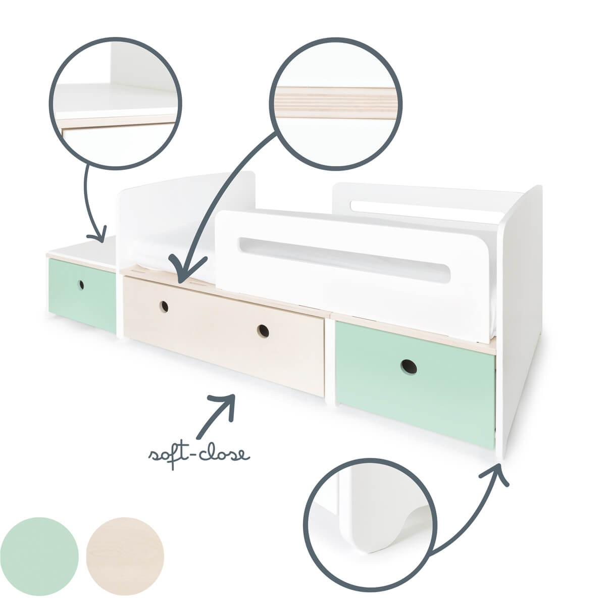 Cama evolutiva infantil 90x150/200cm COLORFLEX Abitare Kids mint-white wash-mint
