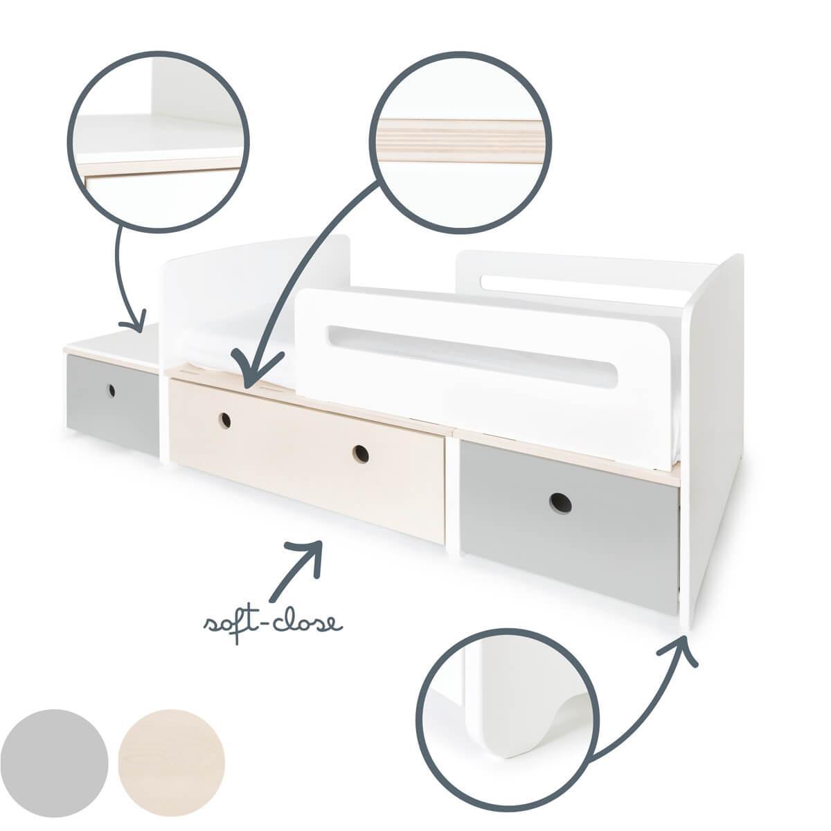 Cama evolutiva infantil 90x150/200cm COLORFLEX Abitare Kids pearl grey-white wash-pearl grey