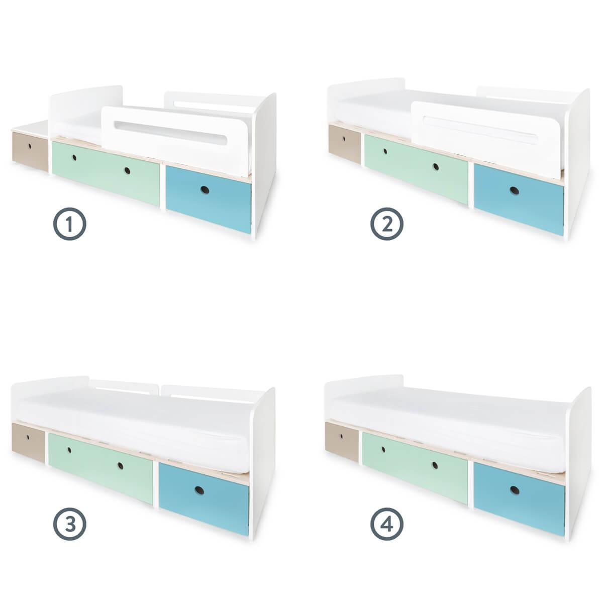 Cama evolutiva infantil 90x150/200cm COLORFLEX Abitare Kids warm grey-mint-paradise blue