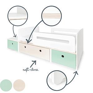 Cama evolutiva infantil 90x150/200cm COLORFLEX mint-white wash-mint