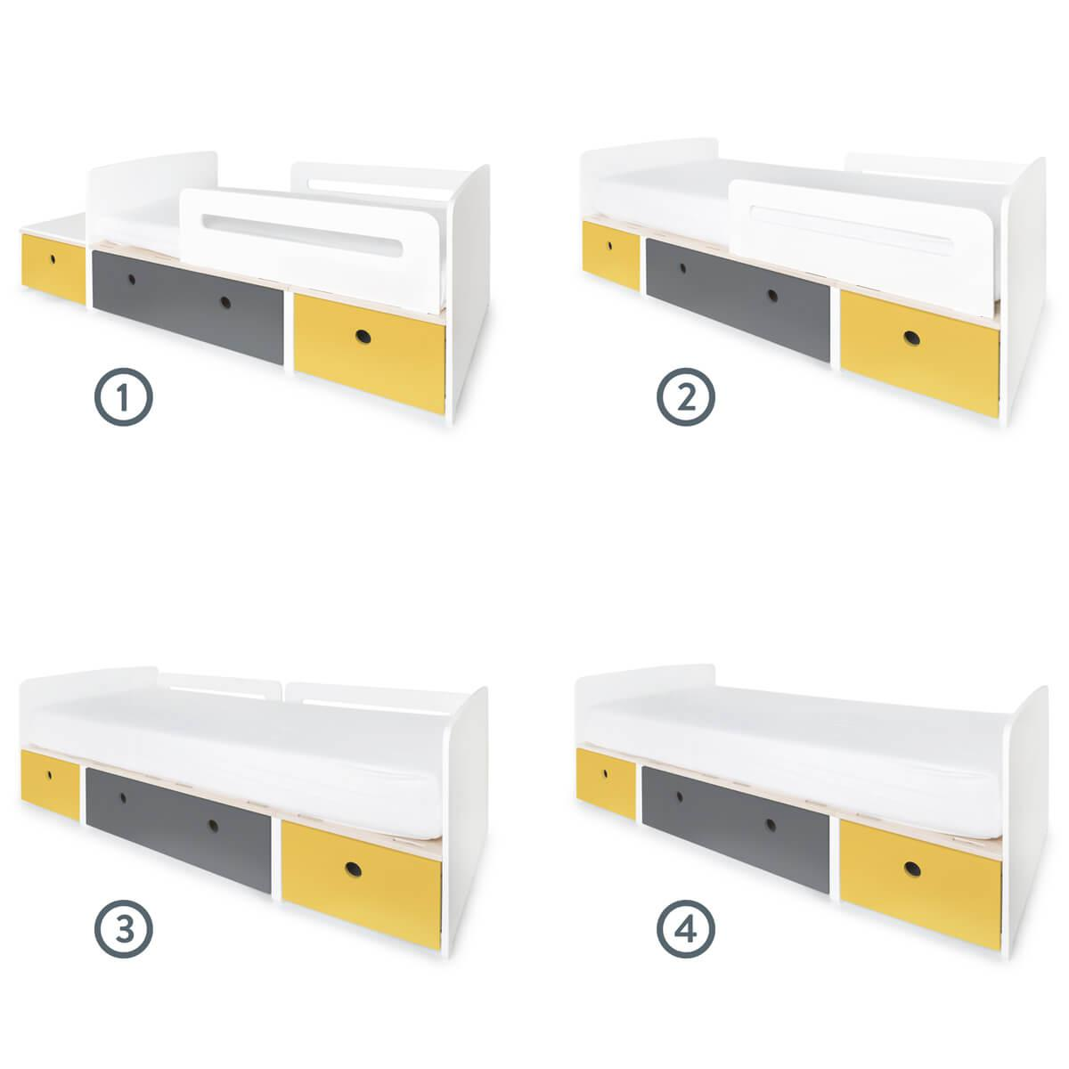 Cama evolutiva infantil 90x150/200cm COLORFLEX nectar yellow-space grey-nectar yellow