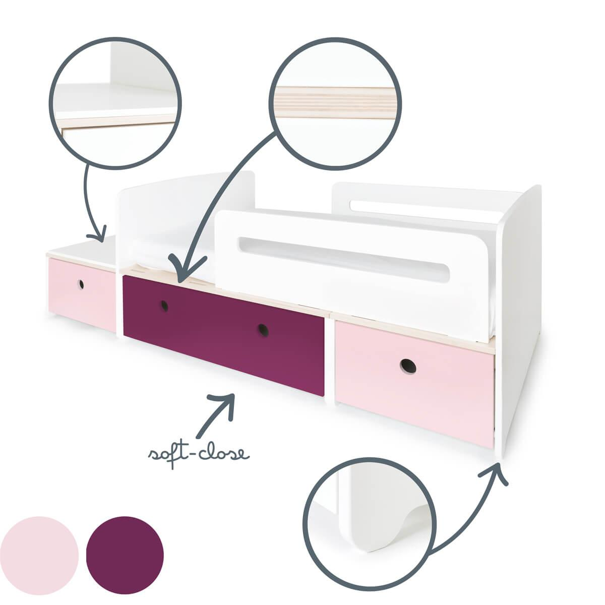 Cama evolutiva infantil 90x150/200cm COLORFLEX sweet pink-plum-sweet pink