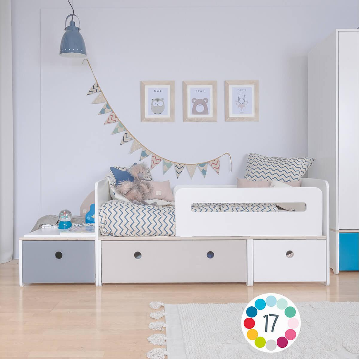 Cama evolutiva infantil 90x150/200cm COLORFLEX warm grey-paradise blue-warm grey