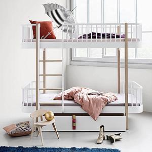 Cama evolutiva literas 90x200cm WOOD Oliver Furniture blanco-roble