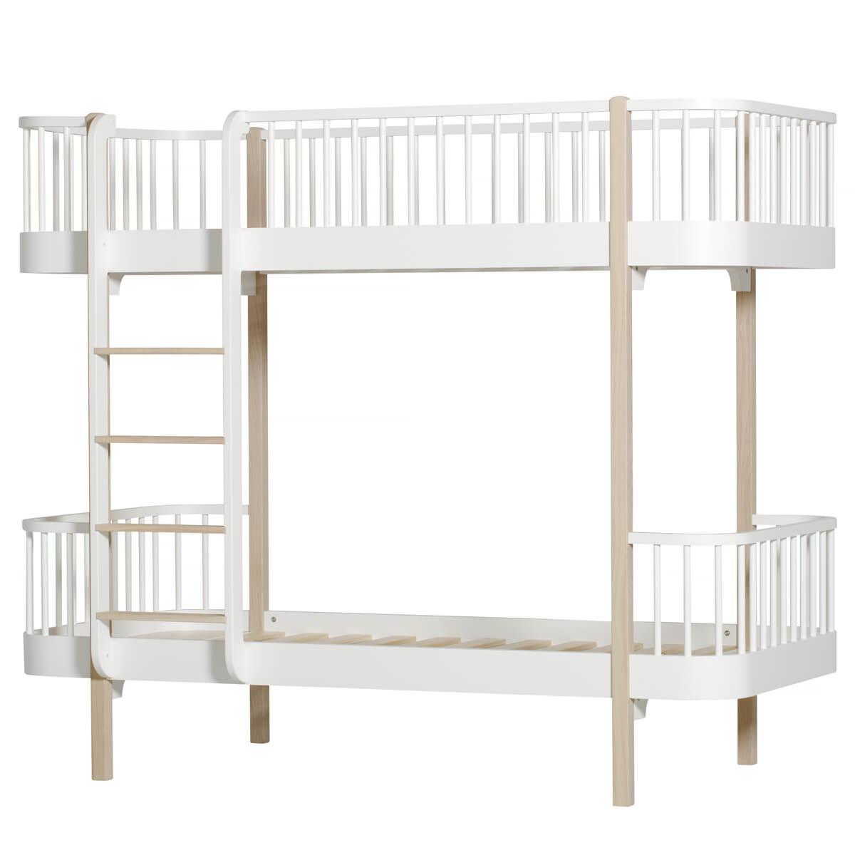 Cama evolutiva literas 90x200cm WOOD ORIGINAL Oliver Furniture blanco-roble