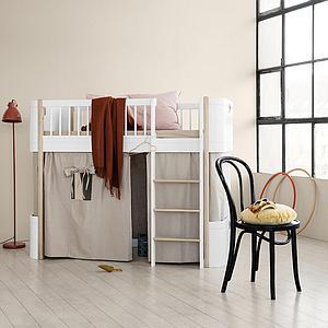 Cama evolutiva media alta 68x162cm WOOD MINI+ Oliver Furniture blanco-roble
