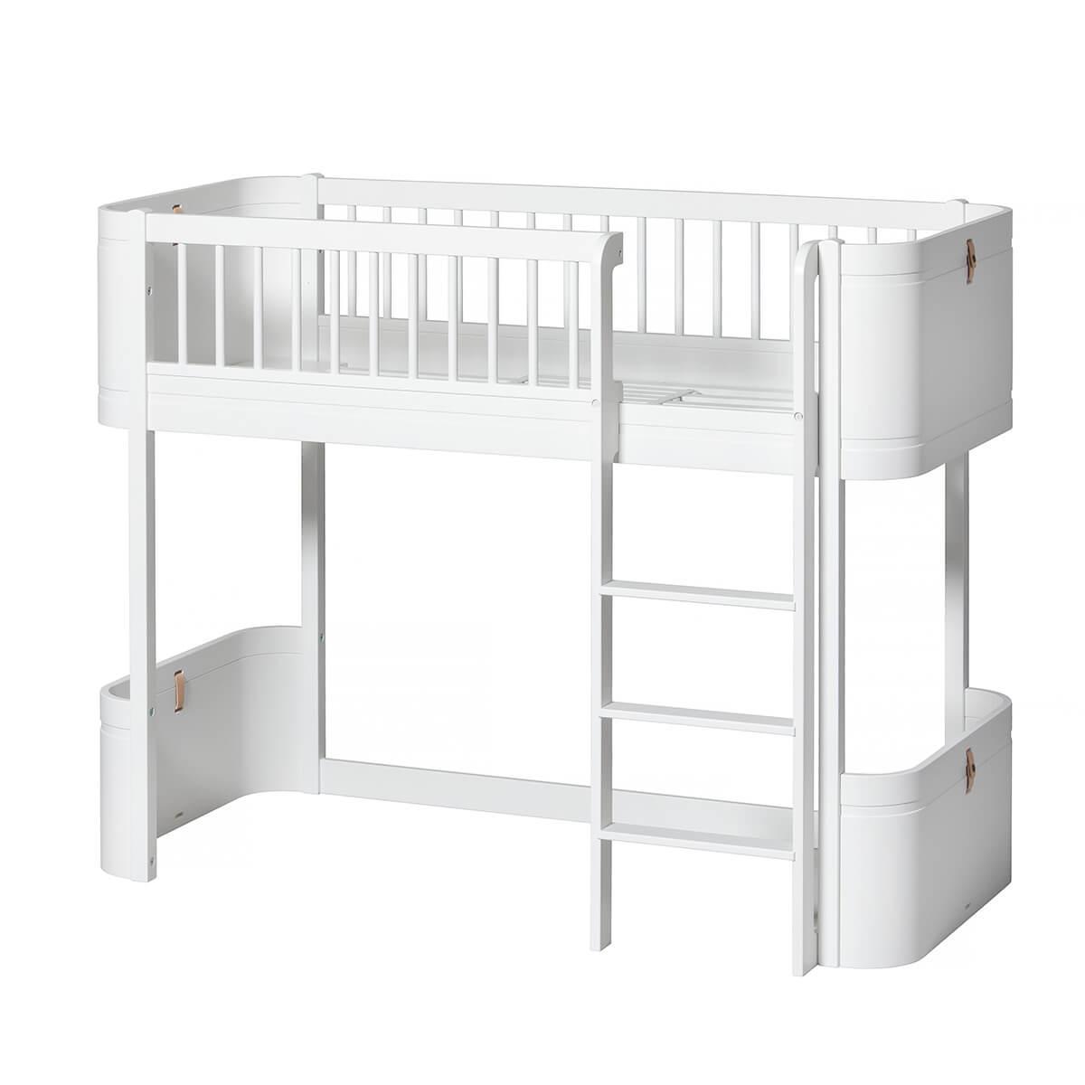 Cama evolutiva media alta 68x162cm WOOD MINI+ Oliver Furniture blanco