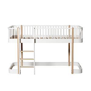 Cama evolutiva media alta 90x200cm WOOD ORIGINAL Oliver Furniture blanco-roble