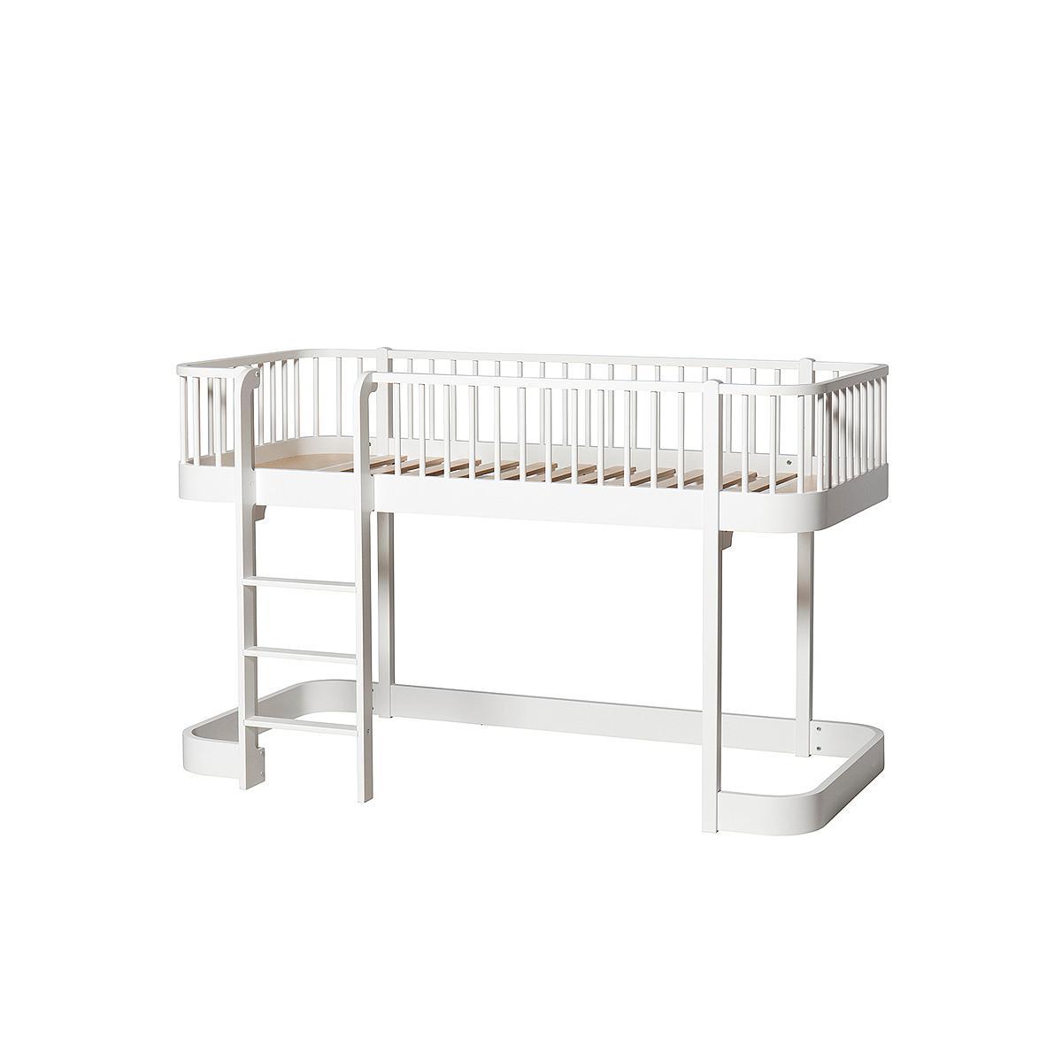 Cama evolutiva media alta 90x200cm WOOD ORIGINAL Oliver Furniture blanco
