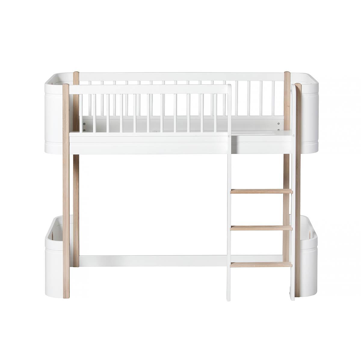 Cama evolutiva semi alta 68x162cm MINI+ WOOD Oliver Furniture blanco-roble