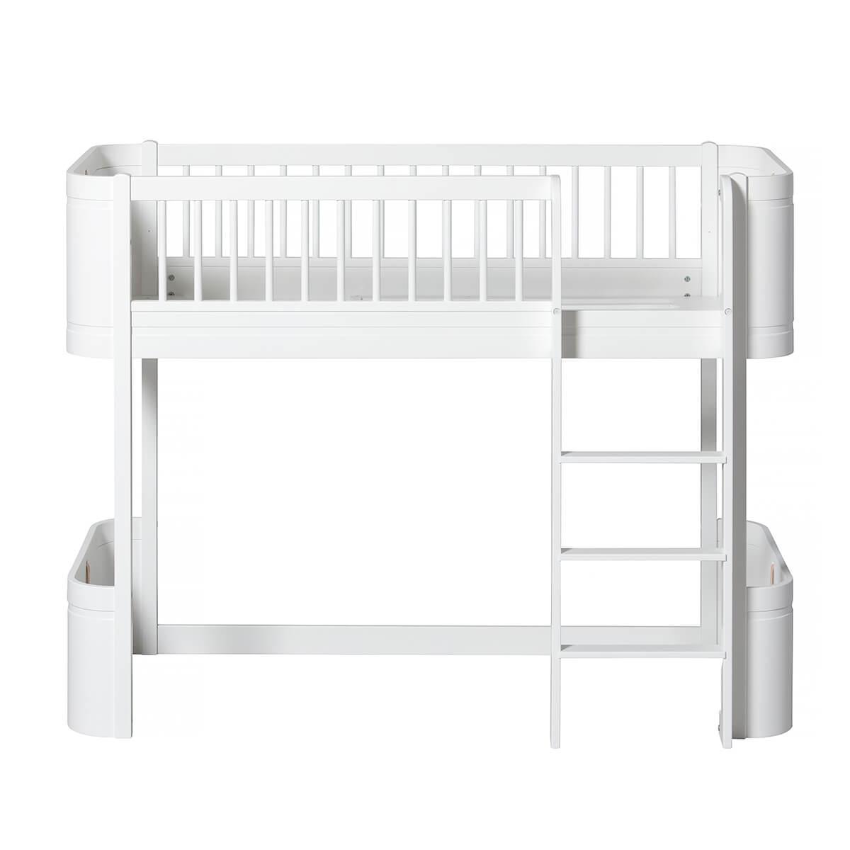 Cama evolutiva semi alta 68x162cm MINI+ WOOD Oliver Furniture blanco