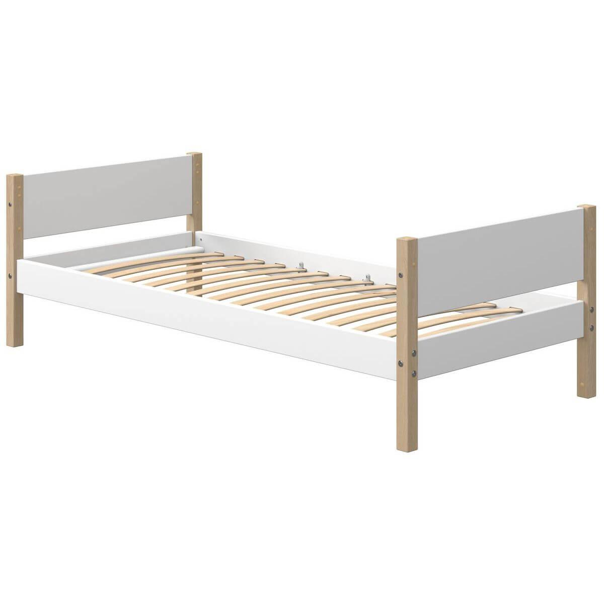 Cama individual 90x190cm NOR Flexa roble-blanco