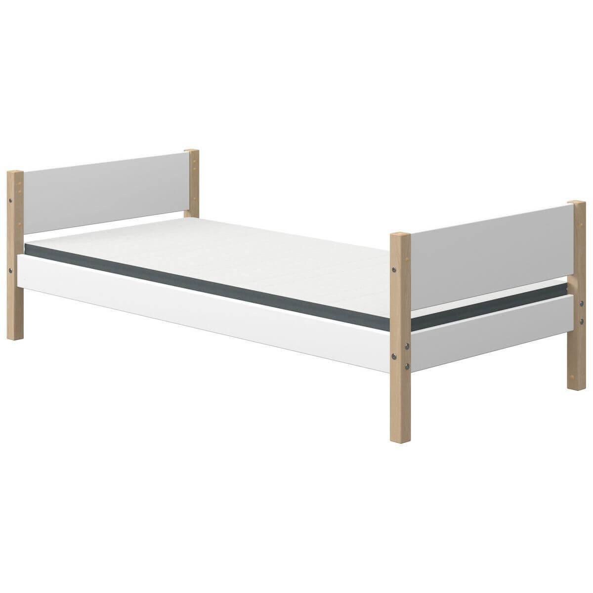 Cama individual 90x190cm NOR Flexa roble-blanco