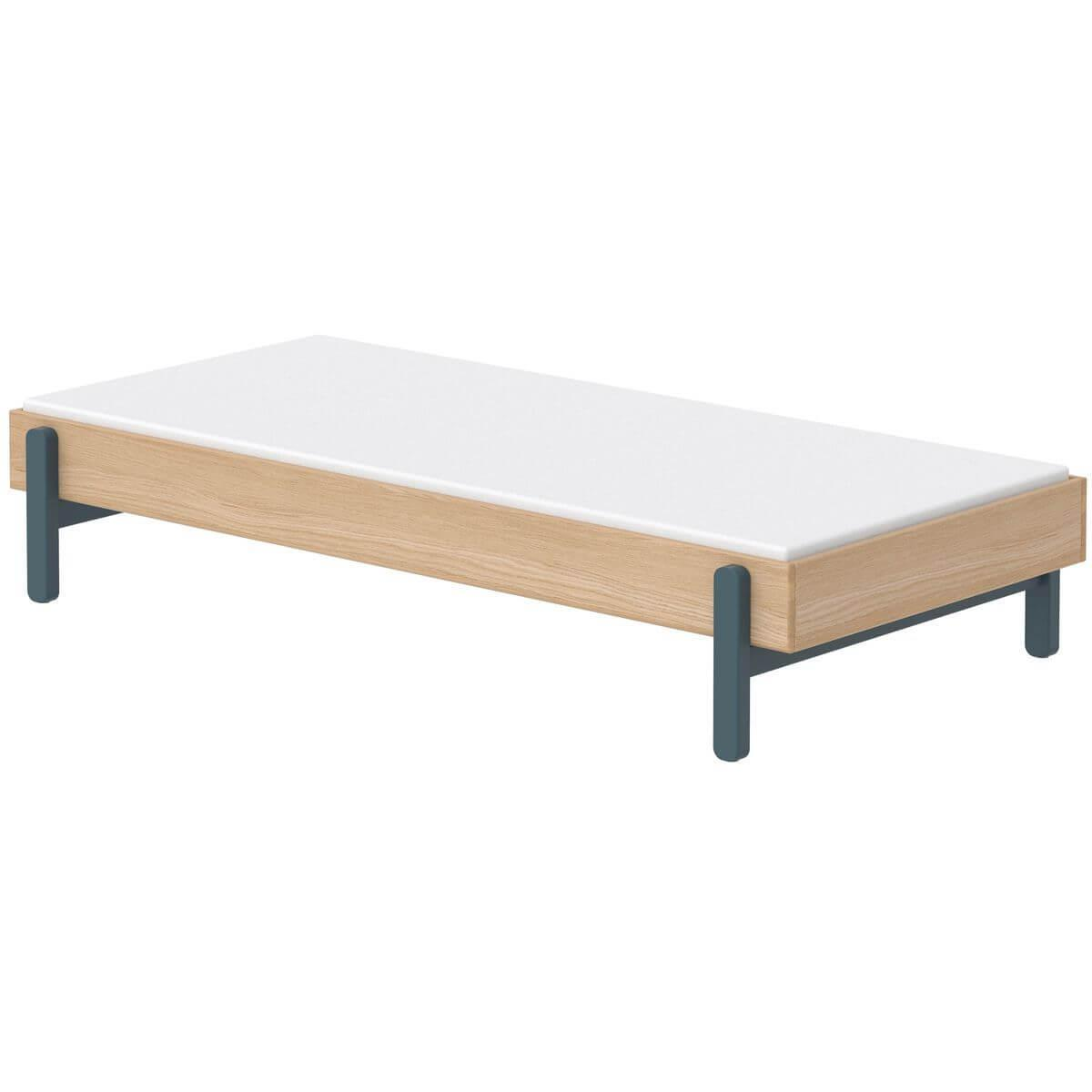 Cama individual 90x200cm POPSICLE Flexa roble-blueberry