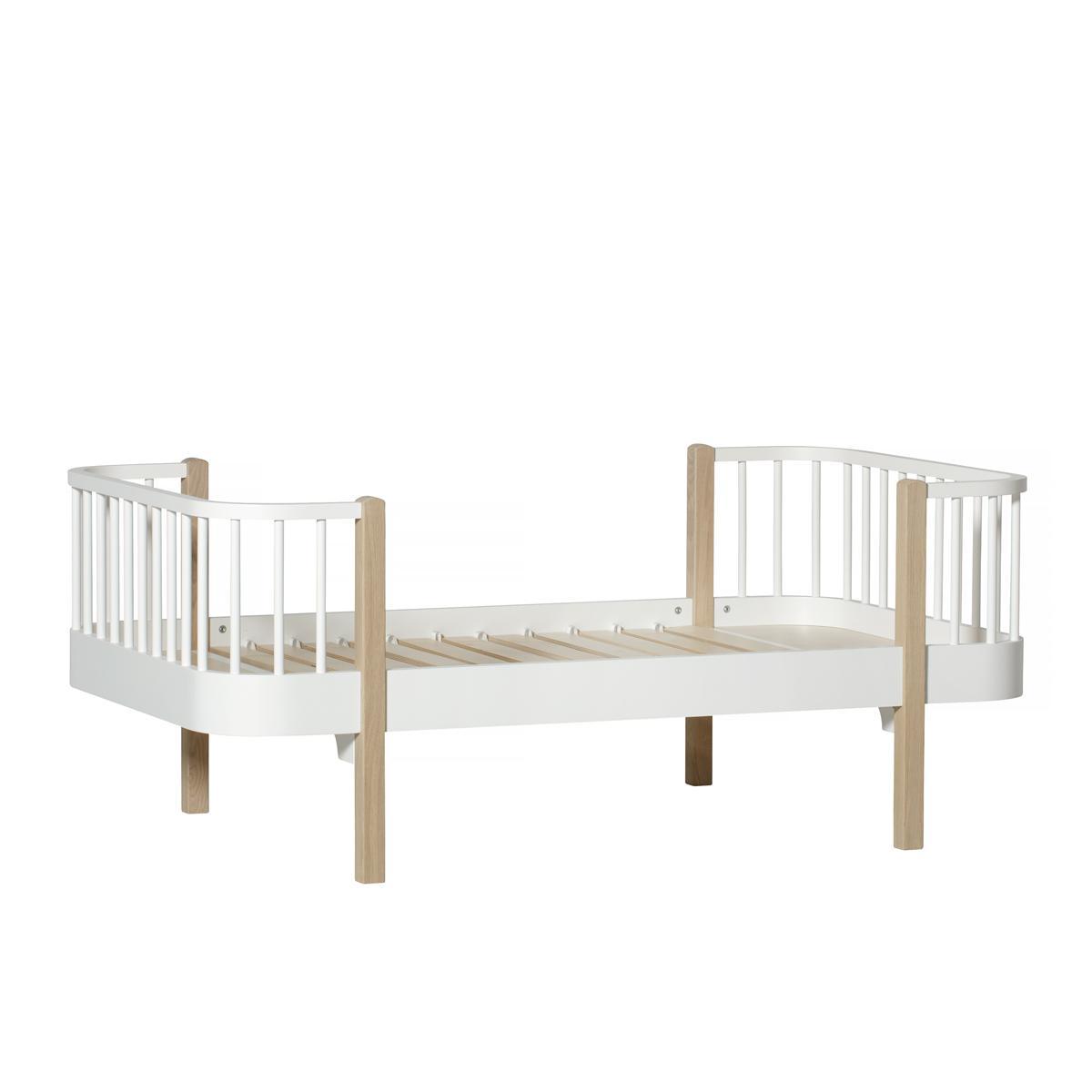 Cama individual evolutiva 90x160cm WOOD ORIGINAL Oliver Furniture blanco-roble