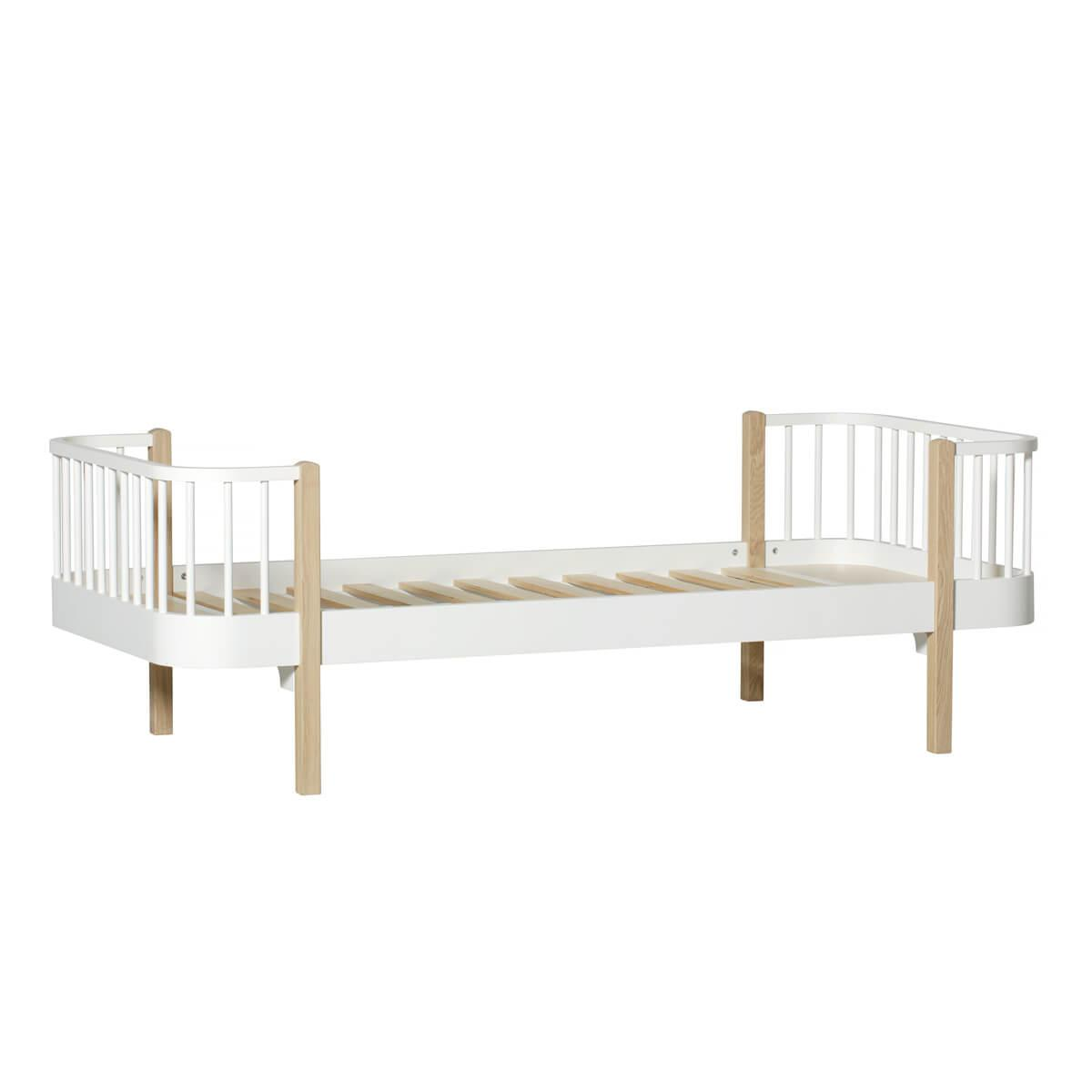 Cama individual evolutiva 90x200cm WOOD ORIGINAL Oliver Furniture blanco-roble