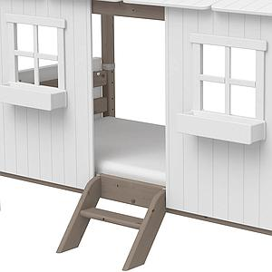 Cama individual evolutiva cabaña 90x200cm 1/1 PLAY HOUSE CLASSIC Flexa terra-blanco