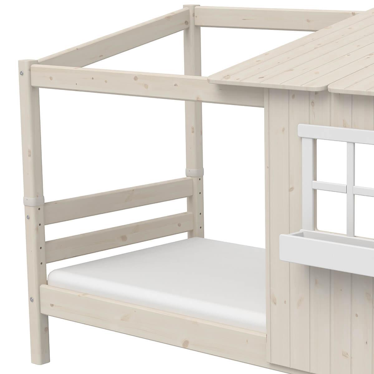 Cama individual evolutiva cabaña 90x200cm 1/2 PLAY HOUSE CLASSIC Flexa blanco cal-blanco