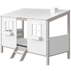 Cama individual evolutiva cabaña 90x200cm PLAY HOUSE CLASSIC Flexa grey washed-blanco