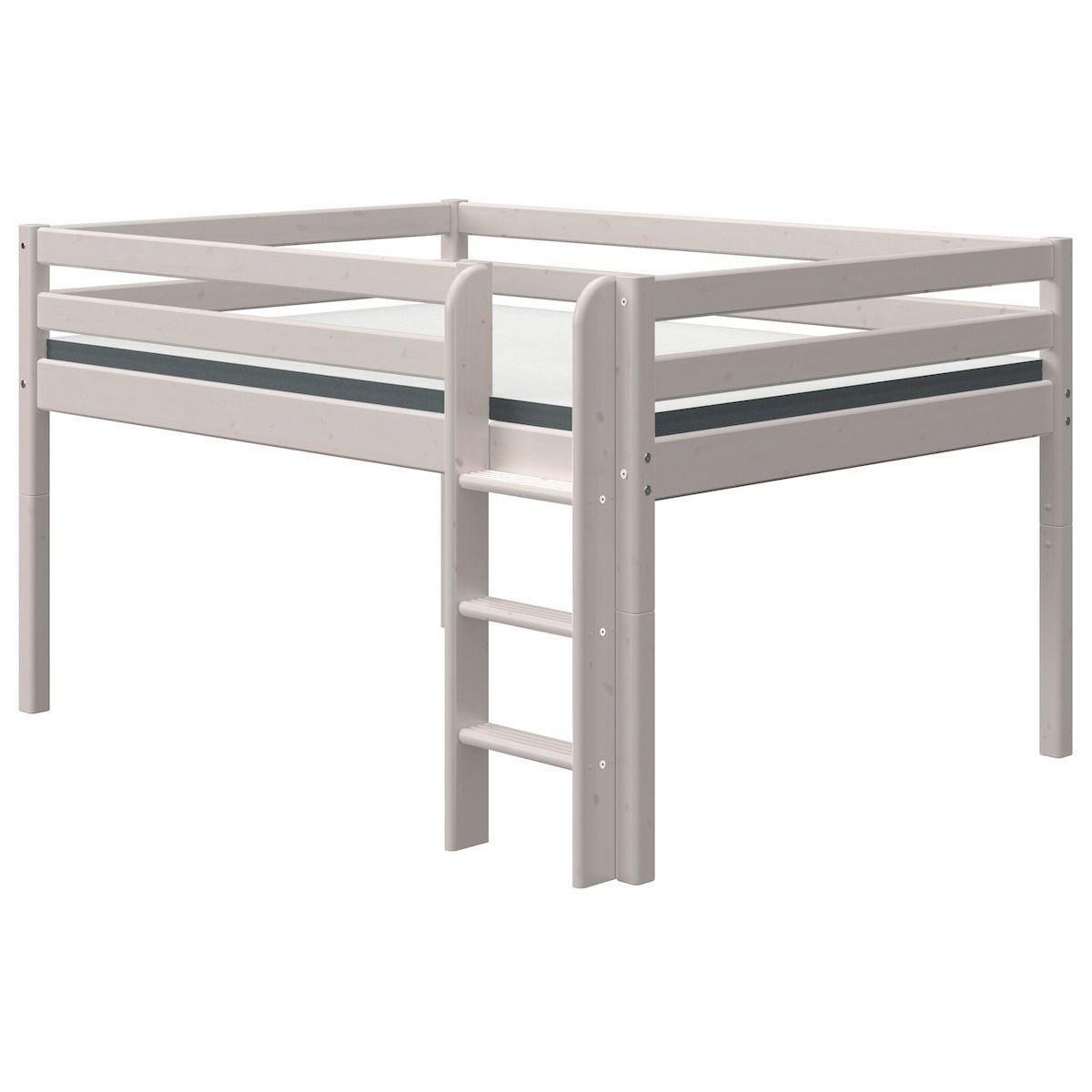 Cama media alta 140x190cm escalera recta CLASSIC Flexa grey washed
