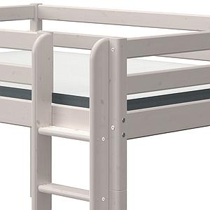 Cama media alta 140x200cm escalera recta CLASSIC Flexa grey washed