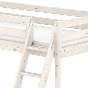 Cama media alta 90x190 CLASSIC Flexa escalera inclinada blanco cal
