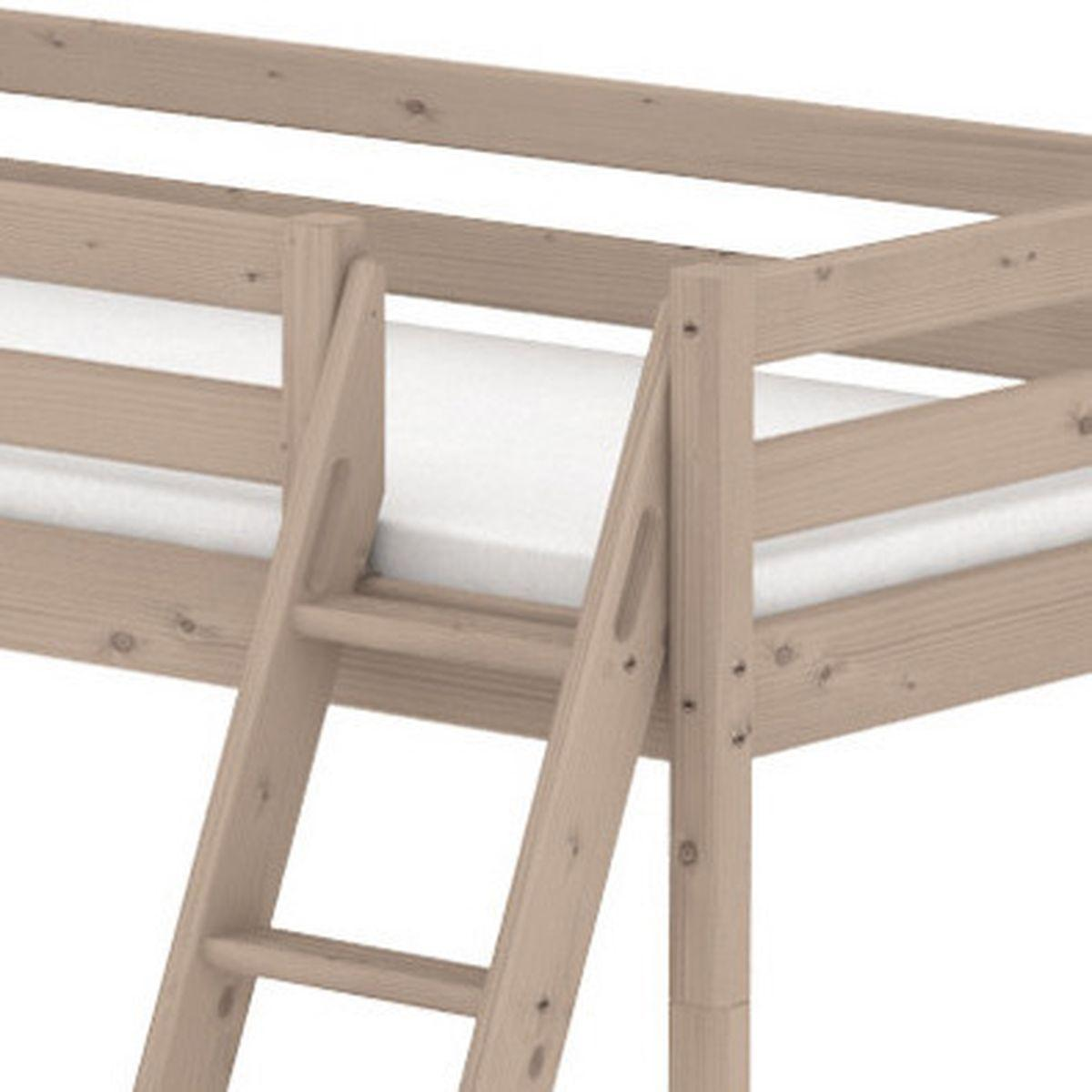 Cama media alta 90x190 CLASSIC Flexa escalera inclinada terra