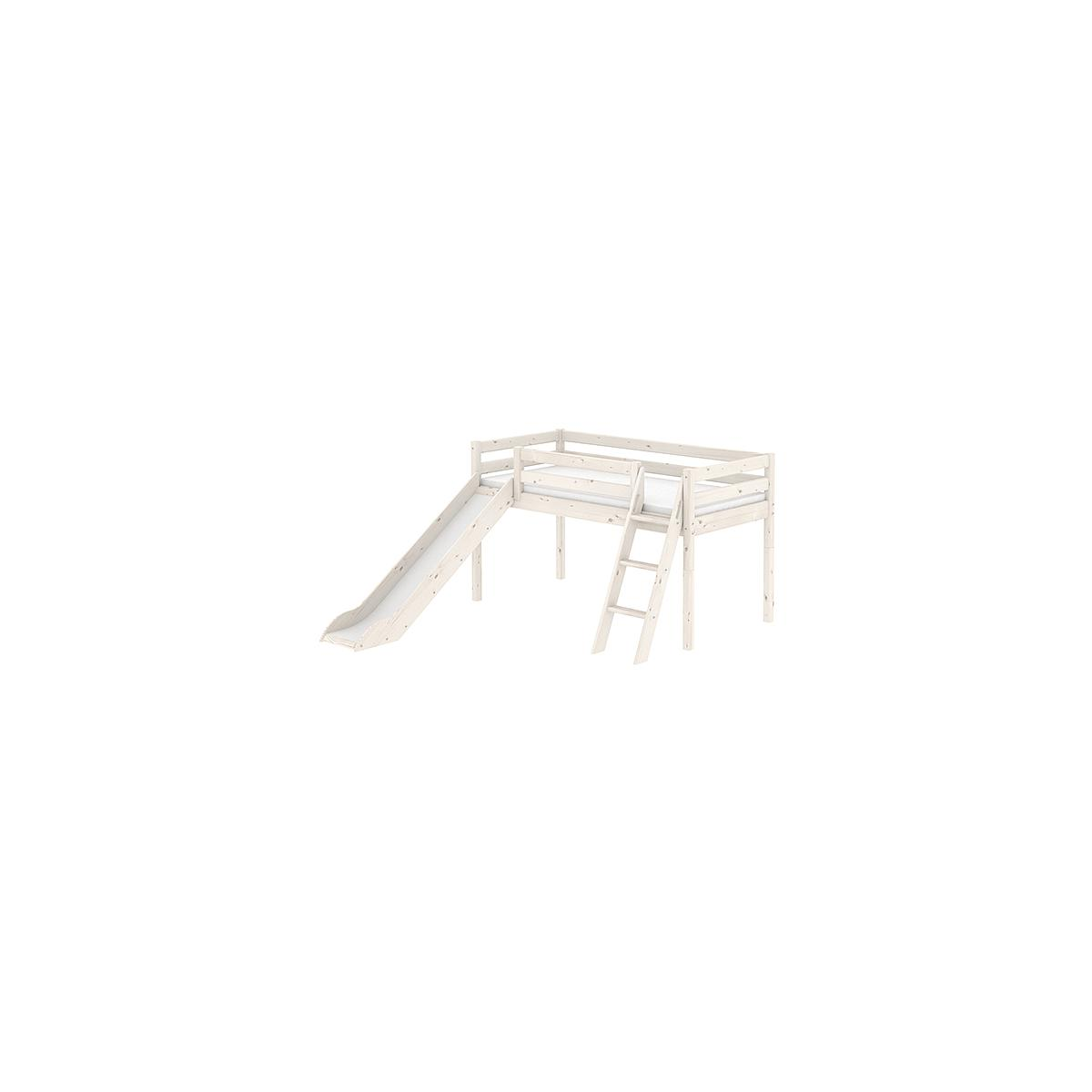 Cama media alta 90x190 CLASSIC Flexa escalera inclinada tobogán blanco cal