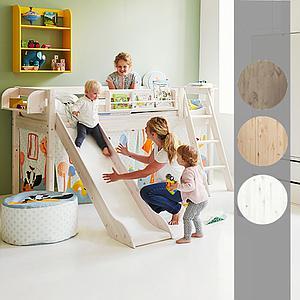 Cama media alta 90x190 CLASSIC Flexa escalera inclinada tobogán blanco cal