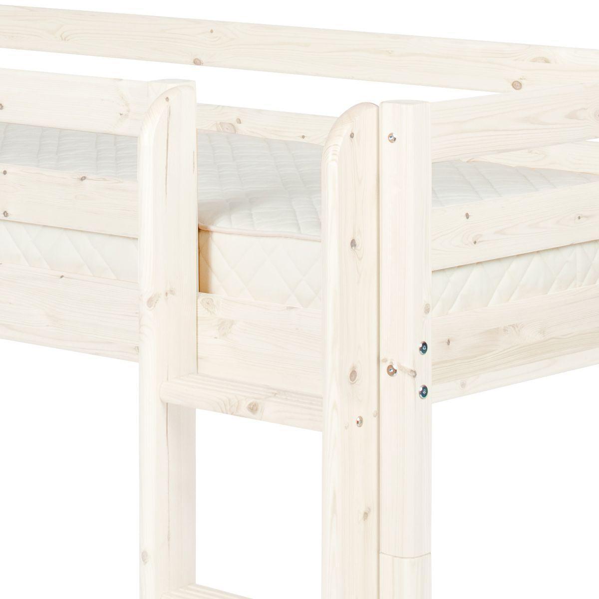 Cama media alta 90x190 CLASSIC Flexa escalera recta blanco cal