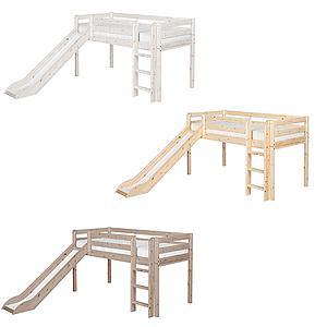 Cama media alta 90x190 CLASSIC Flexa escalera recta tobogán blanco cal
