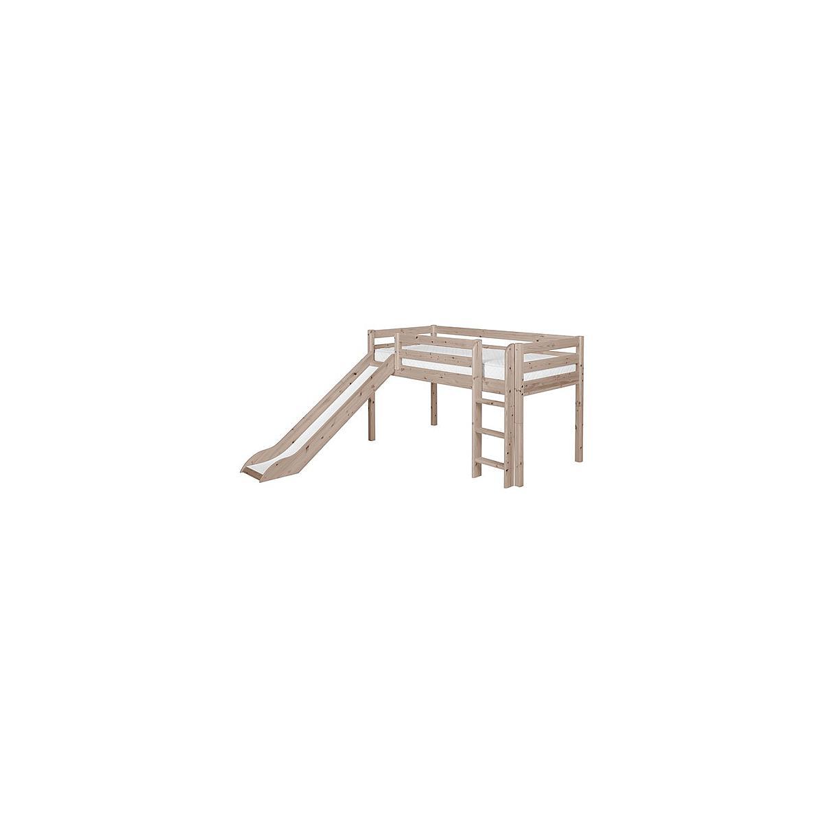Cama media alta 90x190 CLASSIC Flexa escalera recta tobogán terra