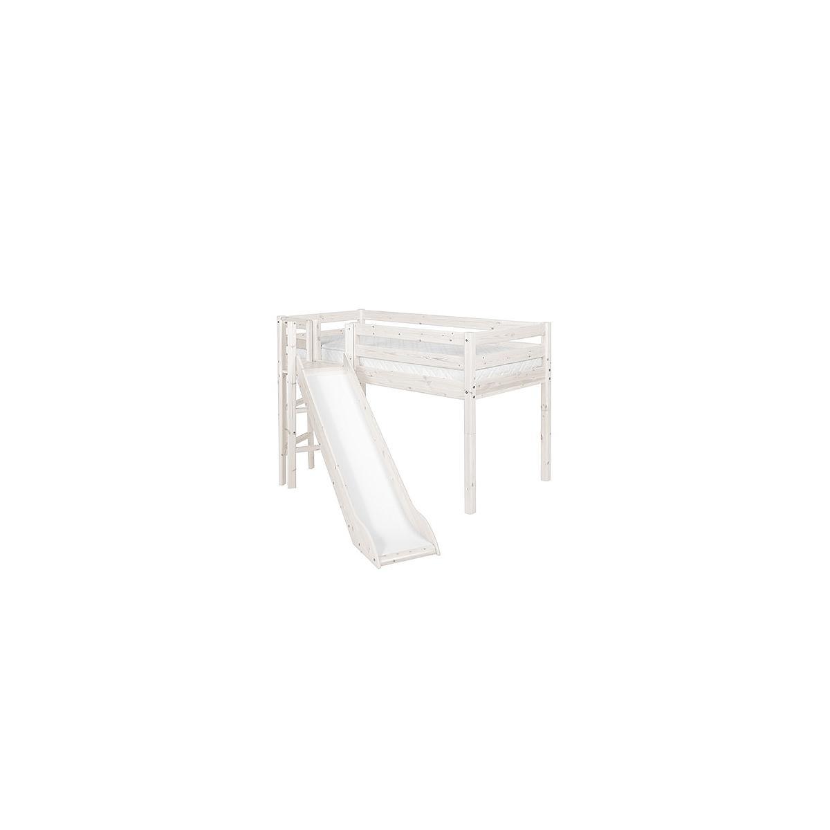 Cama media alta 90x190 CLASSIC Flexa plataforma y tobogán blanco cal