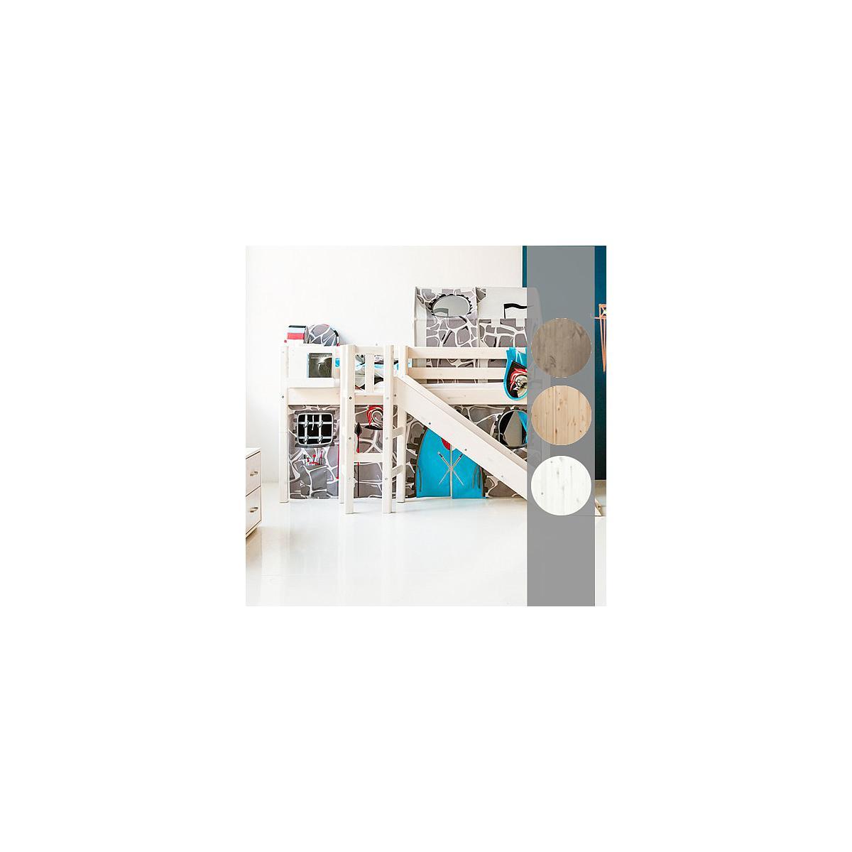 Cama media alta 90x190 CLASSIC Flexa plataforma y tobogán terra