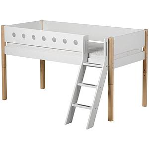 Cama media alta 90x190 WHITE Flexa escalera inclinada barrera blanca patas abedul