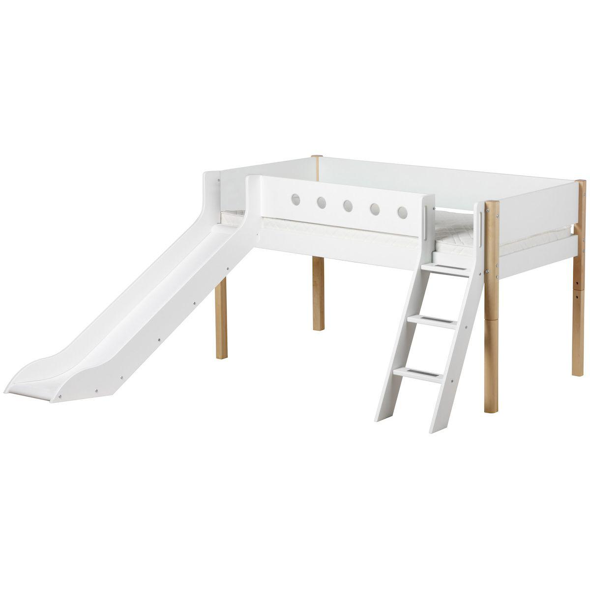 Cama media alta 90x190 WHITE Flexa escalera inclinada tobogán barrera blanca patas abedul
