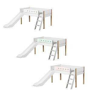 Cama media alta 90x190 WHITE Flexa escalera inclinada tobogán barrera blanca patas abedul