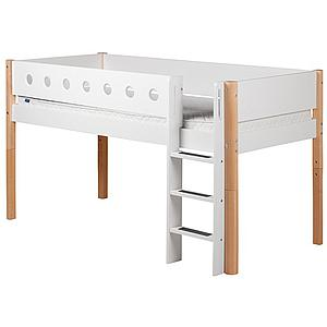 Cama media alta 90x190 WHITE Flexa escalera recta barrera blanca patas abedul