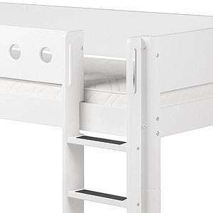 Cama media alta 90x190 WHITE Flexa escalera recta barrera y patas blancas
