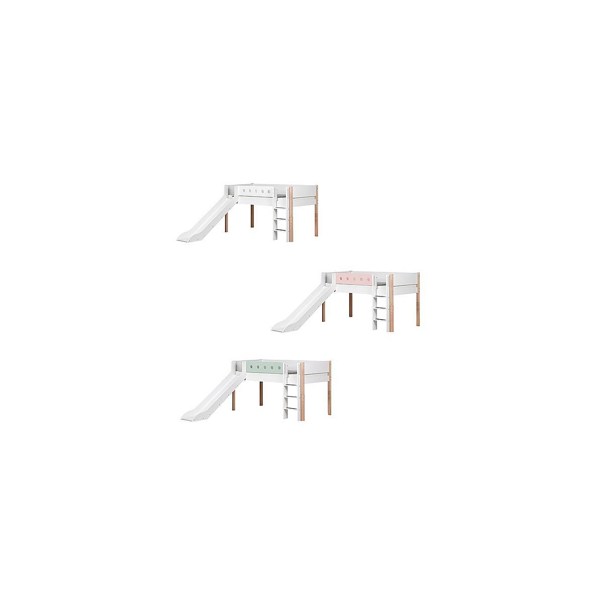 Cama media alta 90x190 WHITE Flexa escalera recta tobogán barrera blanca patas abedul