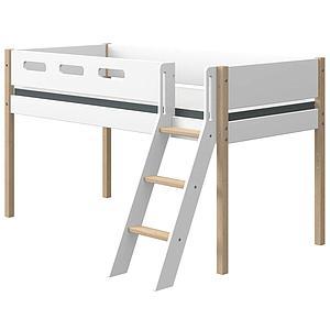 Cama media alta 90x190cm escalera inclinada NOR Flexa roble-blanco