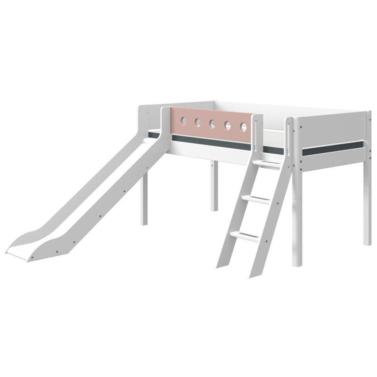Cama media alta 90x190cm escalera inclinada-tobogán WHITE Flexa blanco-rosa claro