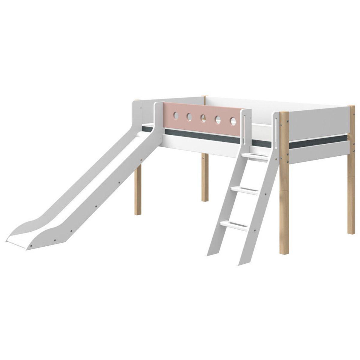 Cama media alta 90x190cm escalera inclinada-tobogán WHITE Flexa natural-rosa claro