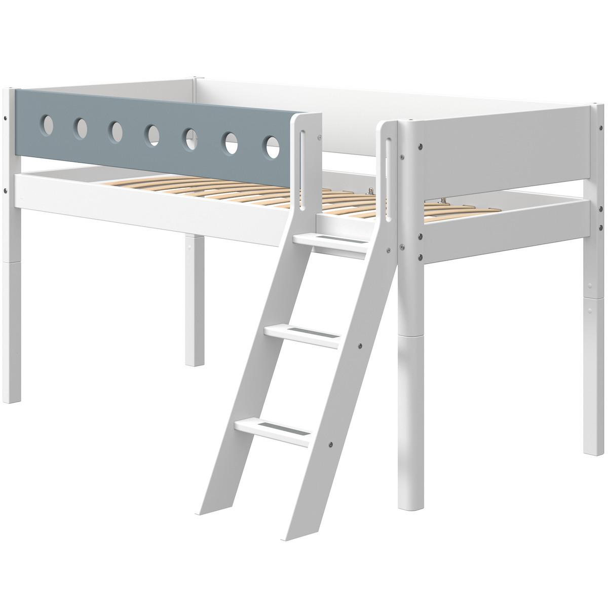 Cama media alta 90x190cm escalera inclinada WHITE Flexa blanco-azul claro
