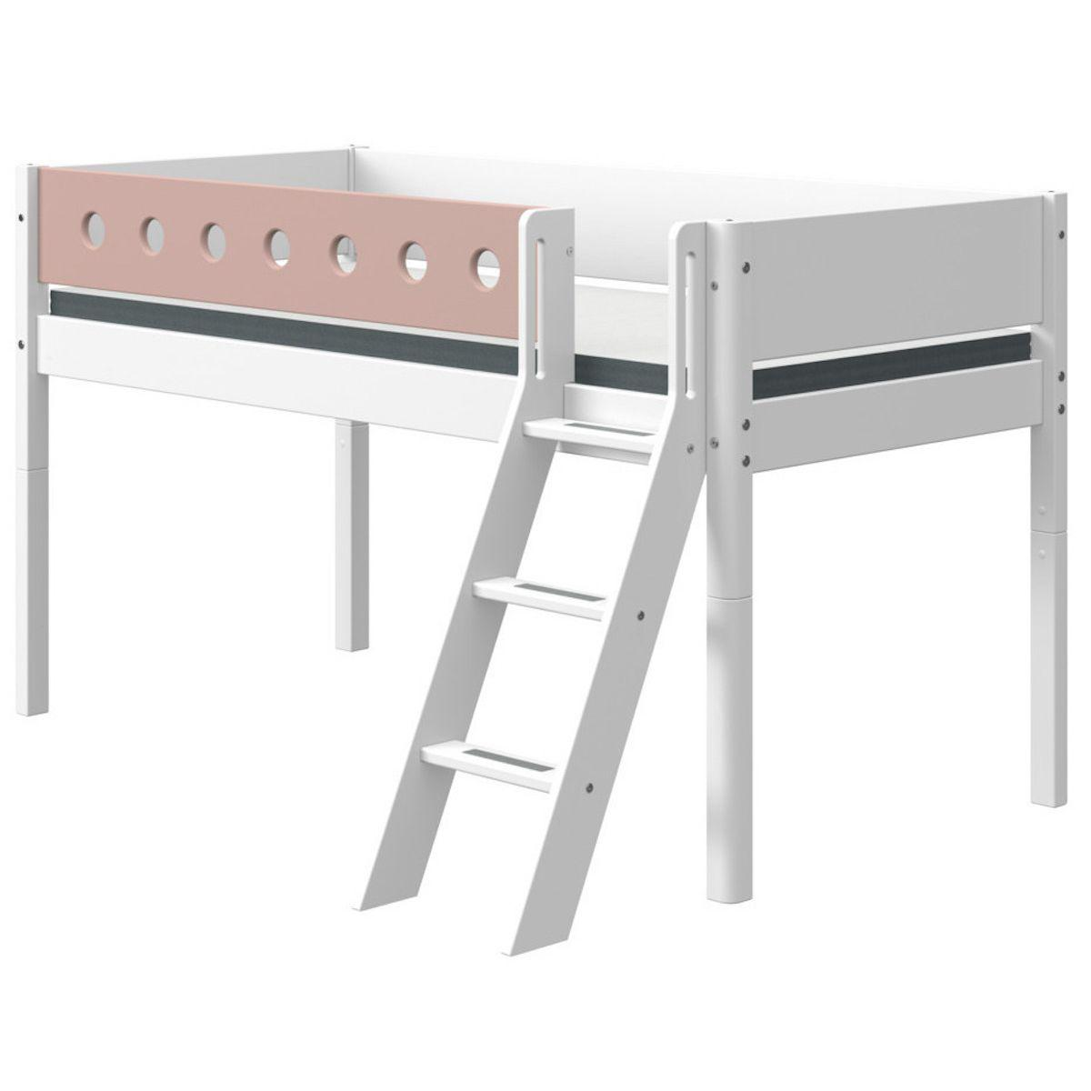 Cama media alta 90x190cm escalera inclinada WHITE Flexa blanco-rosa claro