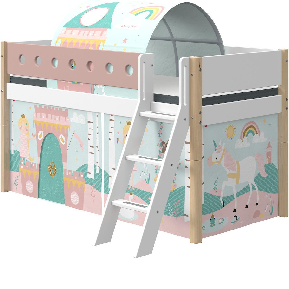 Cama media alta 90x190cm escalera inclinada WHITE Flexa natural-rosa claro