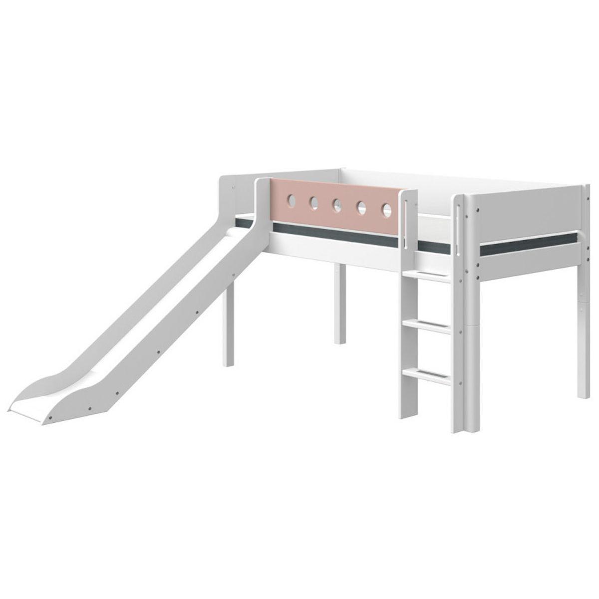 Cama media alta 90x190cm escalera recta-tobogán WHITE Flexa blanco-rosa claro